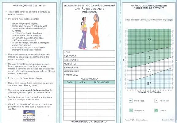 Exames pre natal ministerio da saude