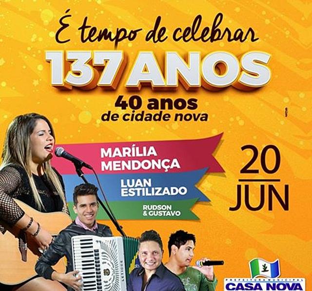 Marília Mendonça e Luan Estilizado são atrações do aniversário de Casa Nova (BA) na segunda (20)